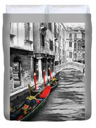 Gondolas On Venice. Black And White Pictures With Colour Detail  Duvet Cover