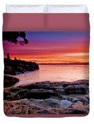 Gone Fishing At Sunset Duvet Cover