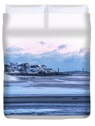 Good Harbor Beach And Thacher Island Covered In Snow Gloucester Ma Duvet Cover