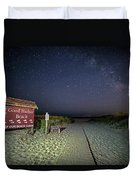 Good Harbor Beach Sign Under The Stars And Milky Way Duvet Cover