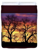 Good Morning Cows Colorful Sunrise Duvet Cover
