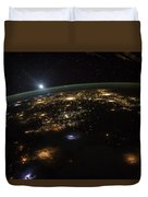 Good Morning From The International Space Station Duvet Cover by Artistic Panda