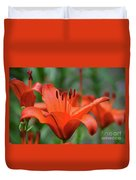 Gorgeous Blooming Orange Lily Flowering In A Garden Duvet Cover