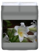 Gorgeous Blooming White Lily With Yellow Pollen On It's Stamen Duvet Cover