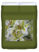 Gorgeous Cluster Of Blooming White Lilies In A Bouquet Duvet Cover