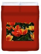 Gorgeous Flowering Orange And Red Blooming Tulips Duvet Cover
