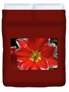 Gorgeous Flowering Red Tulip With A Yellow Center Duvet Cover