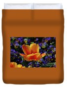 Gorgeous Flowering Yellow And Red Blooming Tulip Duvet Cover
