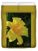 Gorgeous Flowering Yellow Daylily Blooming In A Garden Duvet Cover