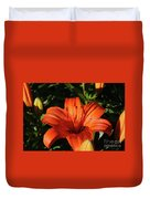 Gorgeous Pretty Orange Lily Flower Blooming In A Garden Duvet Cover