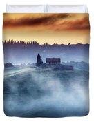 Gorgeous Tuscany Landcape At Sunrise Duvet Cover