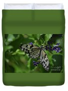 Gorgeous White Tree Nymph Butterfly With It's Wings Spread Duvet Cover