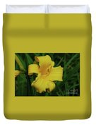 Gorgeous Yellow Daylily In A Garden Blooming Duvet Cover
