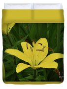 Gorgeous Yellow Lily Growing In Nature Up Close Duvet Cover