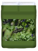 Gorgeous Zebra Butterfly On Some Blue Flowers Duvet Cover