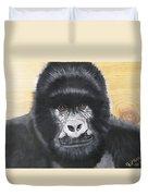 Gorilla On Wood Duvet Cover