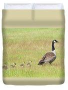 Goslings Following Mama Duvet Cover