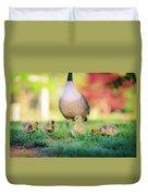 Goslings In The Park Duvet Cover