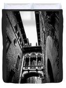 Gothic Bridge In The Gothic Quarter Of Barcelona Duvet Cover