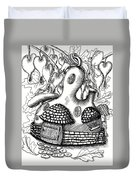 Gourd Fairy House With Snail And Preying Mantis Duvet Cover