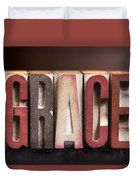 Grace - Antique Letterpress Letters Duvet Cover