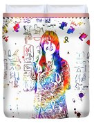 Grace Slick Jefferson Airplane Paint Splatter Duvet Cover