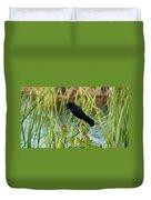 Grackle Hiding In Marsh Duvet Cover