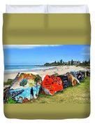 Graffiti At The Beach Duvet Cover