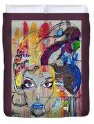 Graffiti Woman Face Duvet Cover