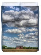 Grain Barn And Barley Field Duvet Cover