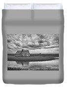 Grain Barn And Sky - Reflection Duvet Cover