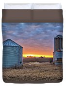 Grain Bin Sunset 2 Duvet Cover