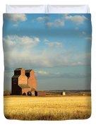 Grain Elevators Stand In A Prairie Duvet Cover