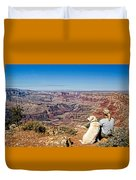 Grand Canyon Girl And Dog Duvet Cover