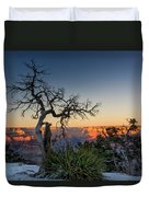 Grand Canyon Lone Tree At Sunset Duvet Cover