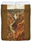Grand Canyon Of The Yellowstone Vertical Panorama Duvet Cover