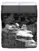 Grand Canyon Snow Black And White Photo Duvet Cover