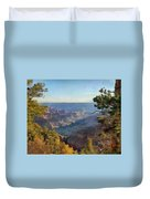 Grand Canyon View With Trees Duvet Cover