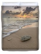 Grand Cayman Beach Coral At Sunset Duvet Cover
