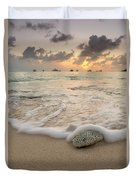 Grand Cayman Beach Coral Waves At Sunset Duvet Cover