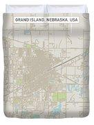 Grand Island Nebraska Us City Street Map Duvet Cover