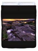 Grand Marais Lighthouse At Sunset Duvet Cover