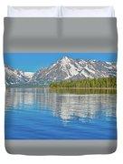 Grand Teton Mountain Reflection On Jackson Lake Duvet Cover