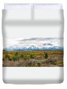 Grand Teton Mountains Panorama Duvet Cover