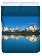 Grand Teton Reflection Wood Texture Duvet Cover