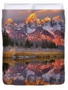Grand Teton Snake River Sunrise Reflections Duvet Cover