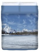 Grand Tetons And Snake River From Oxbow Bend Duvet Cover