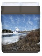 Grand Tetons From Oxbow Bend At A Distance Duvet Cover