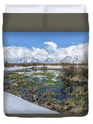 Grand Tetons From Willow Flats In Early April Duvet Cover