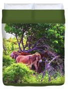 Grand Turk Donkeys In The Shade Duvet Cover